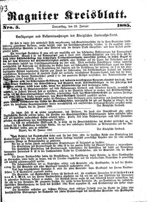 Ragniter Kreisblatt vom 29.01.1885