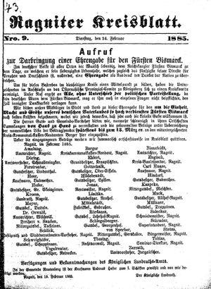 Ragniter Kreisblatt vom 24.02.1885