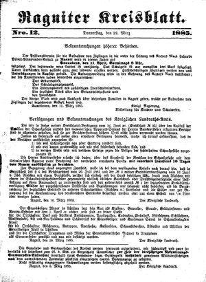 Ragniter Kreisblatt vom 19.03.1885