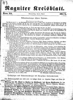 Ragniter Kreisblatt vom 09.04.1885