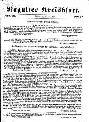 Ragniter Kreisblatt vom 21.05.1885