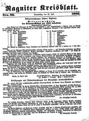 Ragniter Kreisblatt vom 23.07.1885