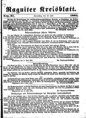 Ragniter Kreisblatt vom 30.07.1885