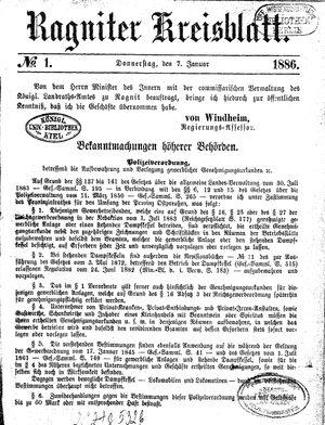 Ragniter Kreisblatt vom 07.01.1886