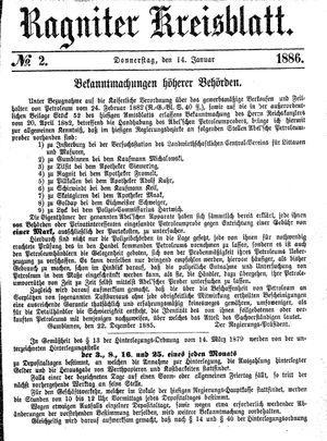 Ragniter Kreisblatt vom 14.01.1886