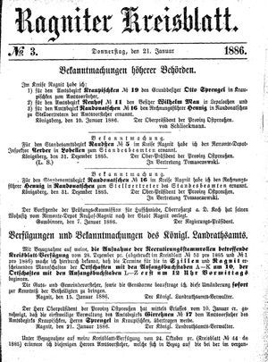 Ragniter Kreisblatt vom 21.01.1886