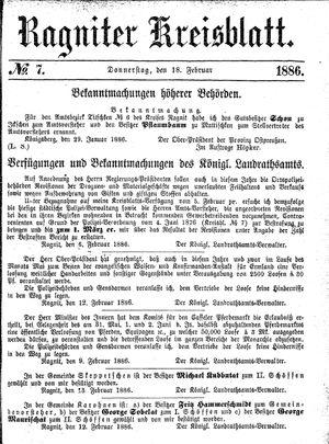 Ragniter Kreisblatt vom 18.02.1886