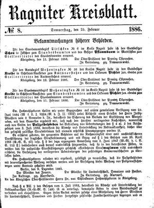 Ragniter Kreisblatt vom 25.02.1886