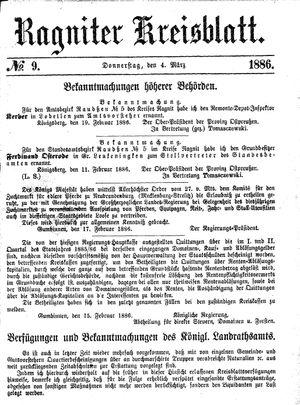 Ragniter Kreisblatt on Mar 4, 1886