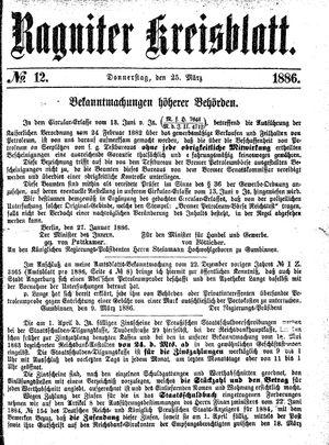 Ragniter Kreisblatt on Mar 25, 1886
