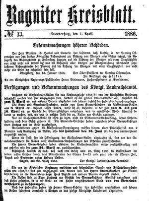 Ragniter Kreisblatt vom 01.04.1886