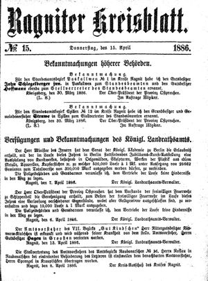 Ragniter Kreisblatt vom 15.04.1886