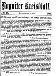 Ragniter Kreisblatt (22.04.1886)