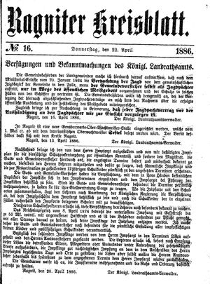 Ragniter Kreisblatt vom 22.04.1886