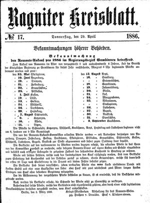 Ragniter Kreisblatt vom 29.04.1886