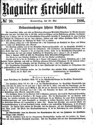 Ragniter Kreisblatt vom 20.05.1886