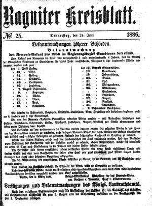 Ragniter Kreisblatt vom 24.06.1886