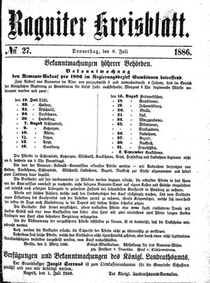 Ragniter Kreisblatt vom 08.07.1886