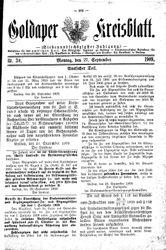 Goldaper Kreisblatt (27.09.1909)