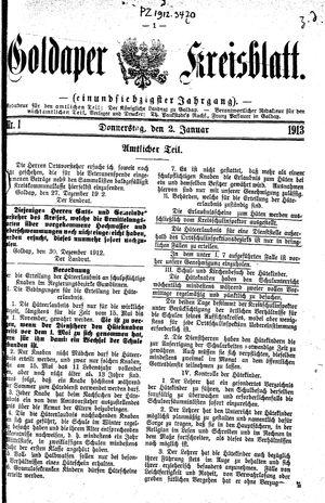 Goldaper Kreisblatt vom 02.01.1913