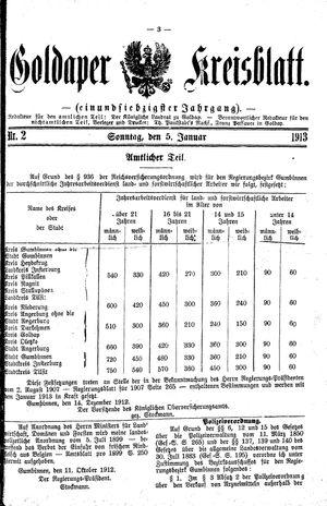 Goldaper Kreisblatt vom 05.01.1913