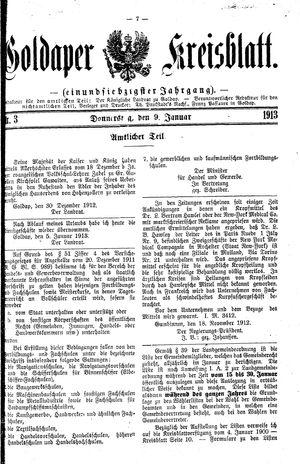 Goldaper Kreisblatt vom 09.01.1913