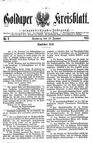 Goldaper Kreisblatt vom 12.01.1913