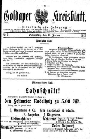Goldaper Kreisblatt on Jan 16, 1913