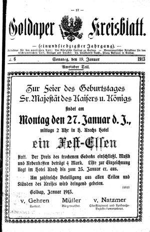 Goldaper Kreisblatt vom 19.01.1913