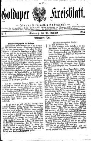 Goldaper Kreisblatt vom 26.01.1913