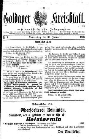 Goldaper Kreisblatt vom 30.01.1913