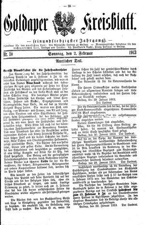 Goldaper Kreisblatt vom 02.02.1913