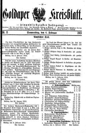 Goldaper Kreisblatt vom 06.02.1913