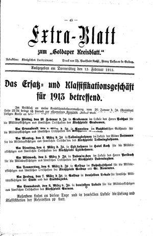 Goldaper Kreisblatt vom 13.02.1913