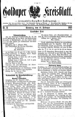 Goldaper Kreisblatt vom 16.02.1913