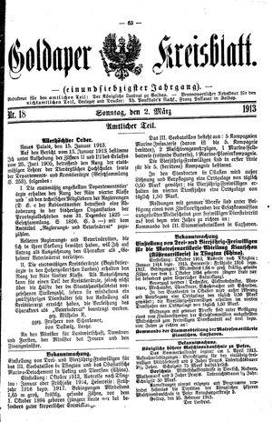 Goldaper Kreisblatt vom 02.03.1913