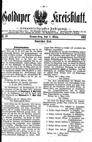 Goldaper Kreisblatt vom 06.03.1913