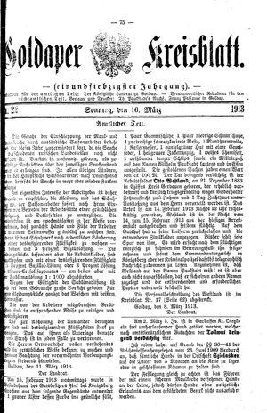 Goldaper Kreisblatt vom 16.03.1913