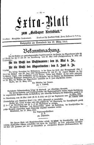 Goldaper Kreisblatt vom 22.03.1913