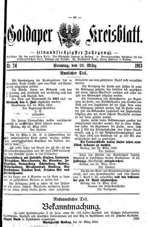 Goldaper Kreisblatt vom 23.03.1913
