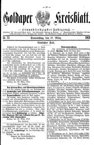 Goldaper Kreisblatt vom 27.03.1913