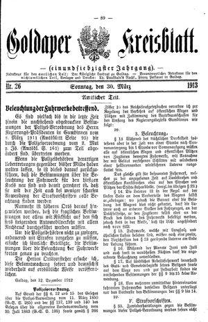 Goldaper Kreisblatt vom 30.03.1913