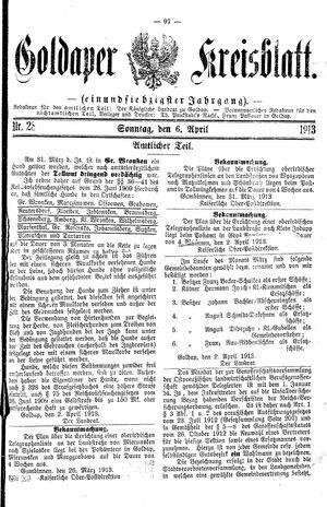 Goldaper Kreisblatt vom 06.04.1913