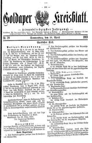 Goldaper Kreisblatt vom 10.04.1913