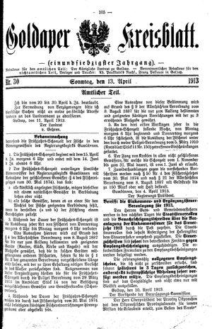 Goldaper Kreisblatt vom 13.04.1913