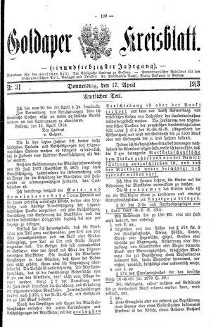 Goldaper Kreisblatt vom 17.04.1913