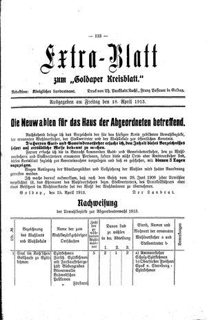 Goldaper Kreisblatt vom 18.04.1913