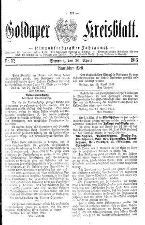 Goldaper Kreisblatt vom 20.04.1913