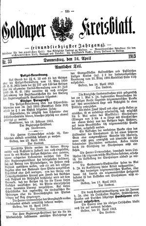 Goldaper Kreisblatt vom 24.04.1913