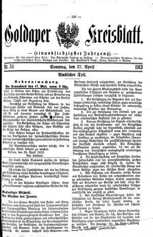 Goldaper Kreisblatt vom 27.04.1913